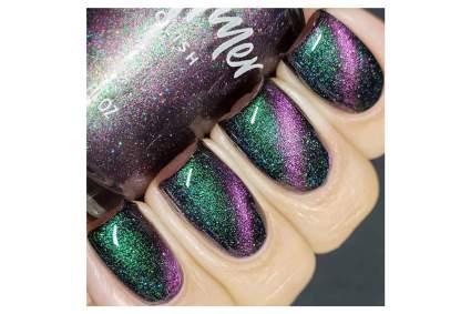 Green and pink metallic nail polish