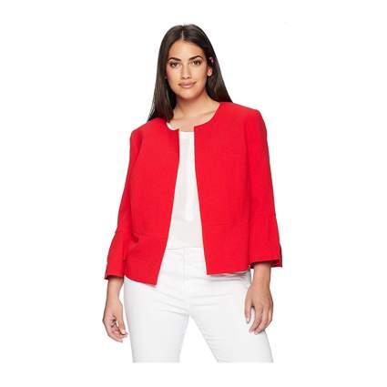 Nine West red ruffle sleeve crepe plus size jacket