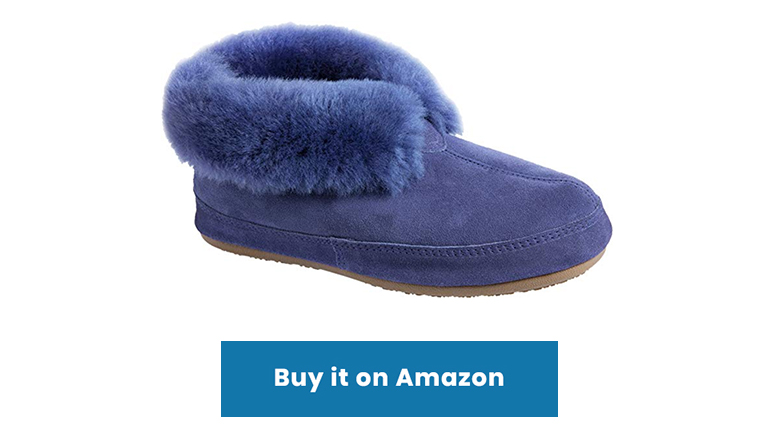 blue sheepskin shearling slipper boots