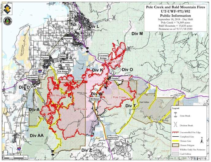 Pole Creek and Bald Mountain Fire map