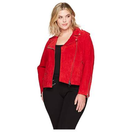 Red plus size suede moto jacket