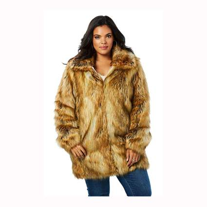 plus size faux fox fur coat