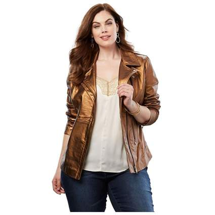 bronze plus size leather motorcyle jacket