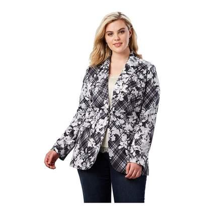 Roaman's black and white print plus size blazer