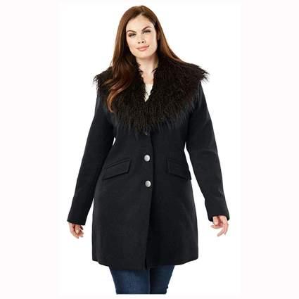 black plus size short wool coat with faux fur collar
