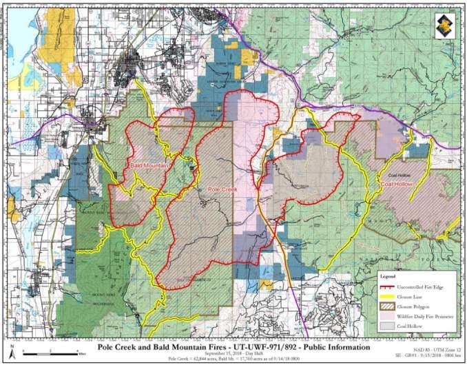 Bald Mountain and Pole Creek Fire Map