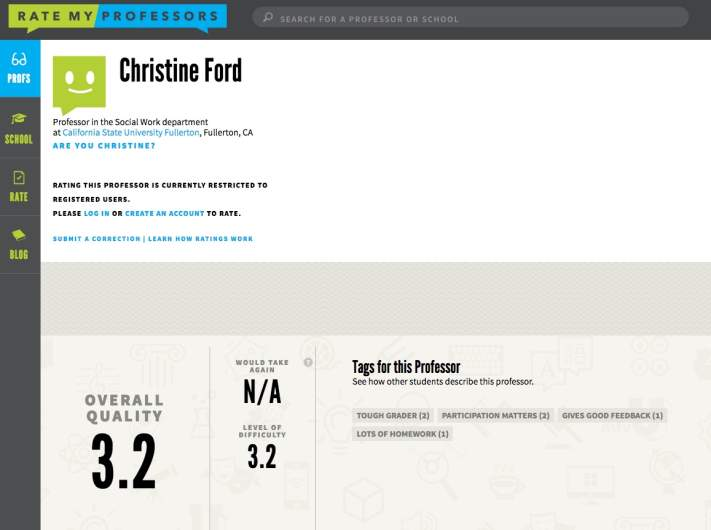 Wrong Christine Ford Rate My Professor Page