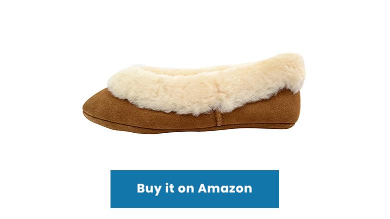 brown sheepskin ballet slippers