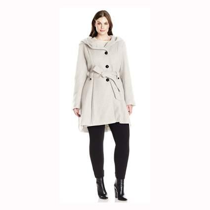 cream plus size single breasted wool coat