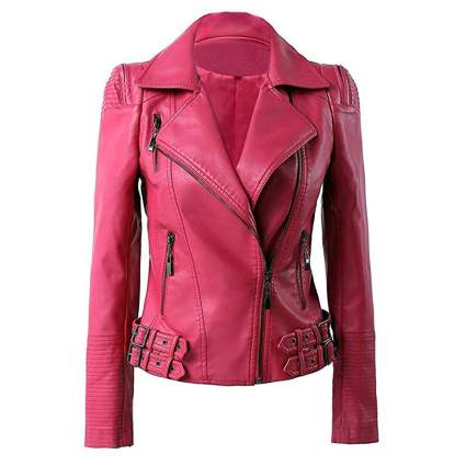 hot pink plus size leather moto jacket