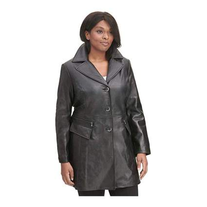 black plus size button front leather car coat