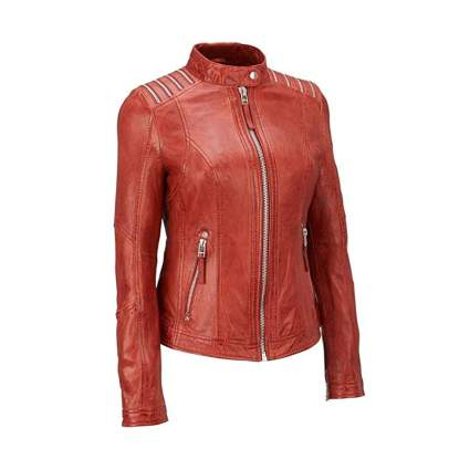 Rust vintage look plus size lambskin moto jacket