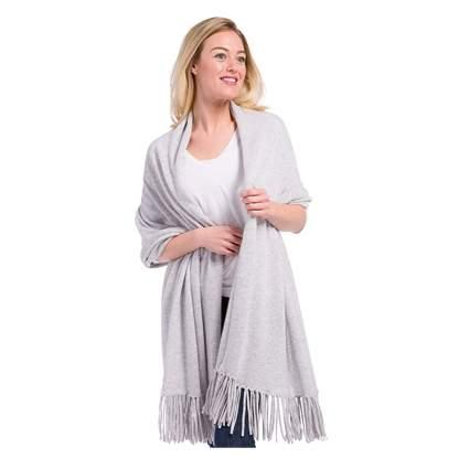 gray pure cashmere shawl