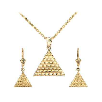 14k gold egyptian pyramid necklace and earring set