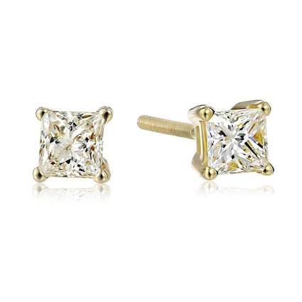 14k gold princess cut diamond stud earrings