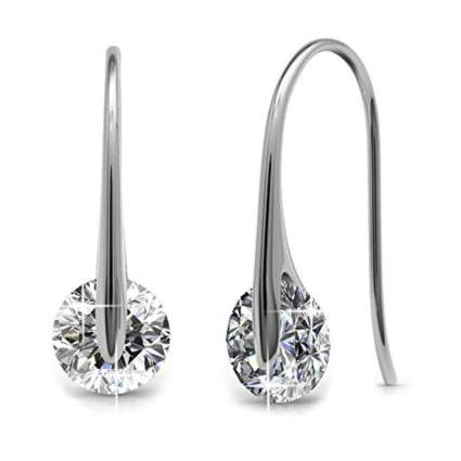 18k white gold plated crystal dangle earrings