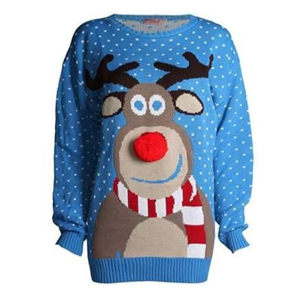 Forever Kids Beautiful Rudolph 3D Nose Pom Pom Christmas Jumper