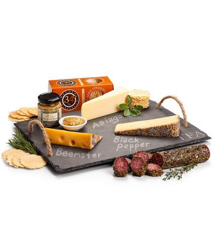 GiftTree Personalized Slate Cheese Board with Artisan Cheeses