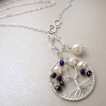 Tree-of-Life Charm Alexandrite Freshwater Pearl Moonstone Necklace