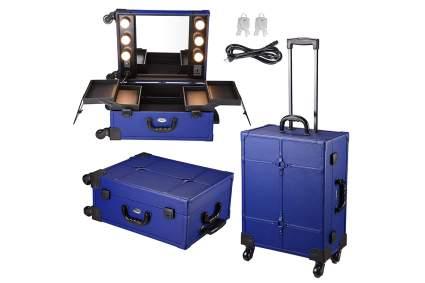 Blue travel makeup studio