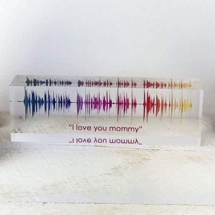 Colorful soundwave acrylic block art