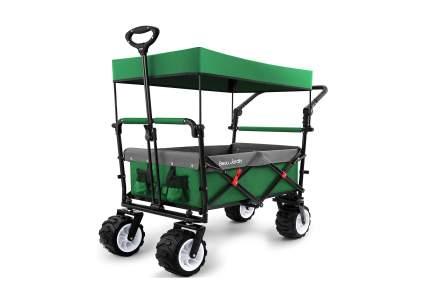 BEAU JARDIN Folding Push Wagon Cart with Removable Canopy
