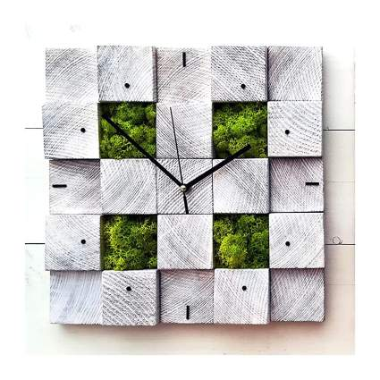 Wall clock with moss