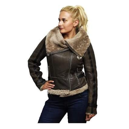 sheepskin leather bomber jacket