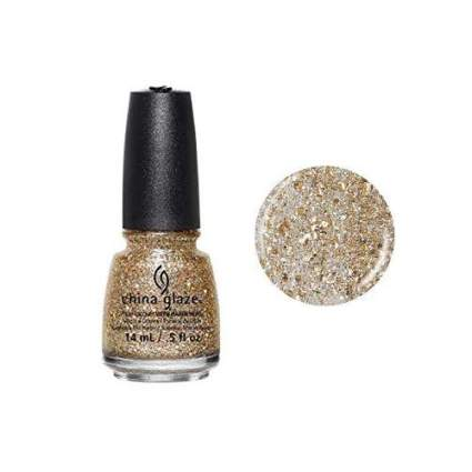China Glaze gold glitter nail polish