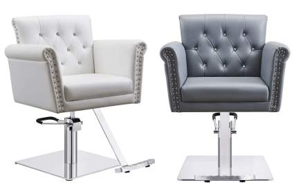 Armchair style beauty chairs in white and grey
