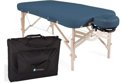 teal blue massage table from Earthlite with black carrying case