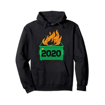 Black hoodie with a dumpster fire on it