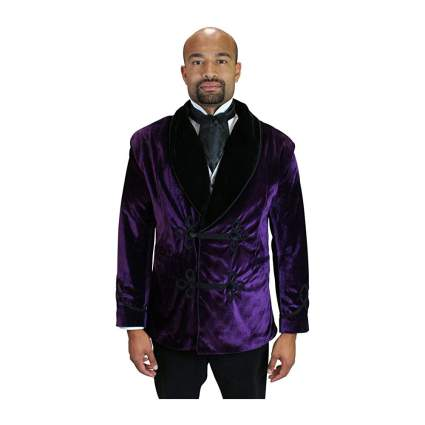 Purple velvet smoking jacket