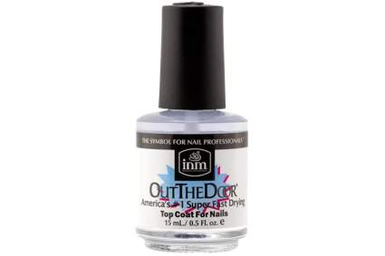 Bottle of clear nail polish with black cap