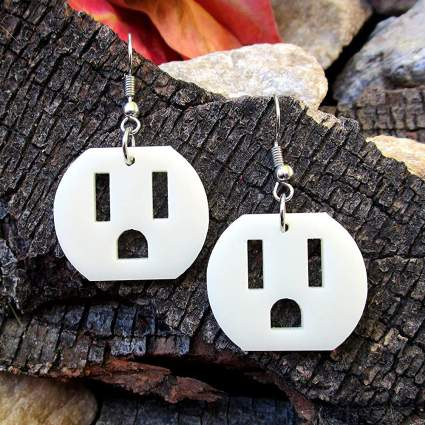 Electrical outlet earrings