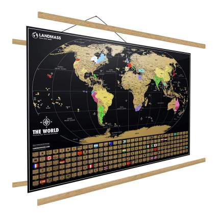World map with frame hanger