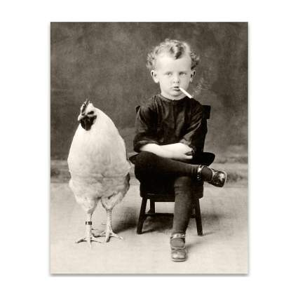 Vintage print of child and chicken