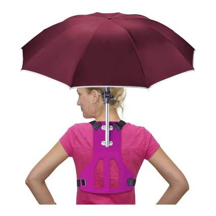Woman with wearable umbrella