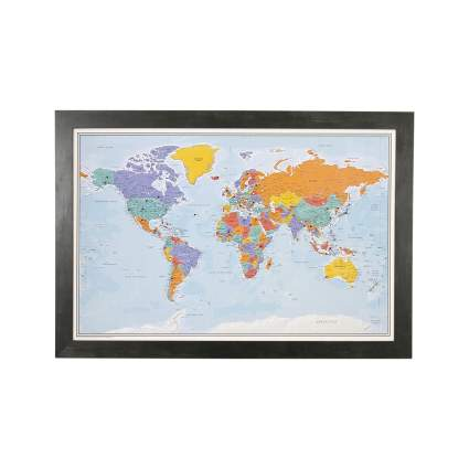 Push Pin World Travel Map with Rustic Frame