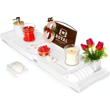 White bathtub tray caddy