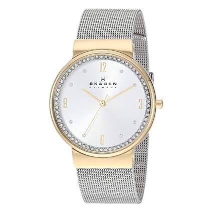 skagen stainless steel dress watch