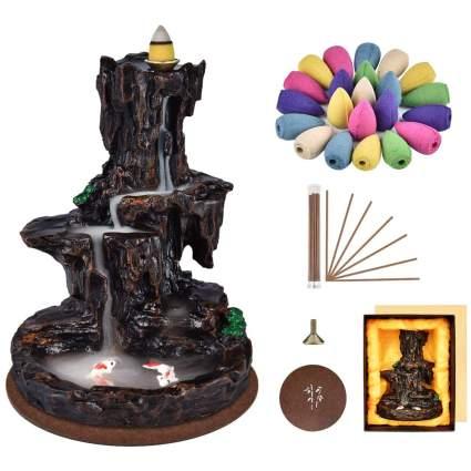 Reverse incense fountain burner