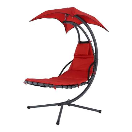 Red hanging chaise lounger