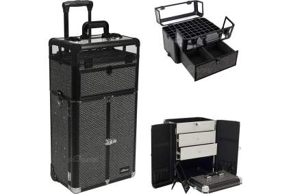 Black crystal studded makeup suitcase
