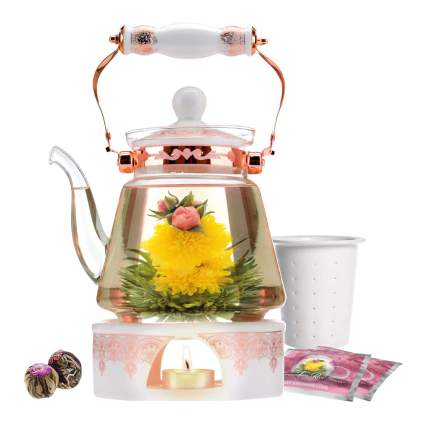 Pink and white Teabloom glass teapot