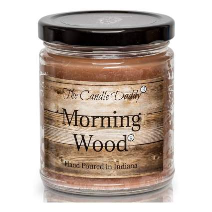 Wood scented novelty candle