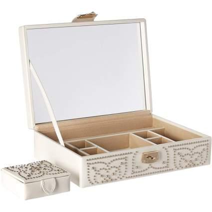 cream and silver jewelry box