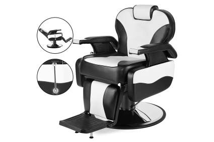 Black and white barbershop chair