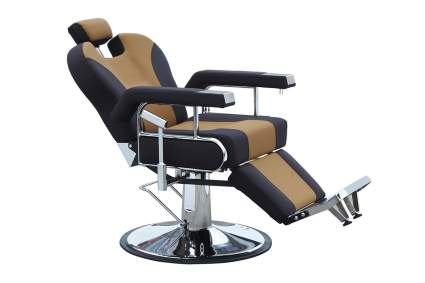 Tan and black reclining salon chair