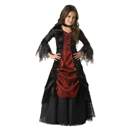Black and red gothic dress for young girl